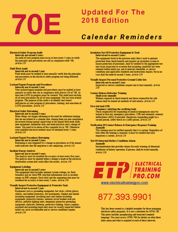 70E Electrical Safety Calendar Reminders